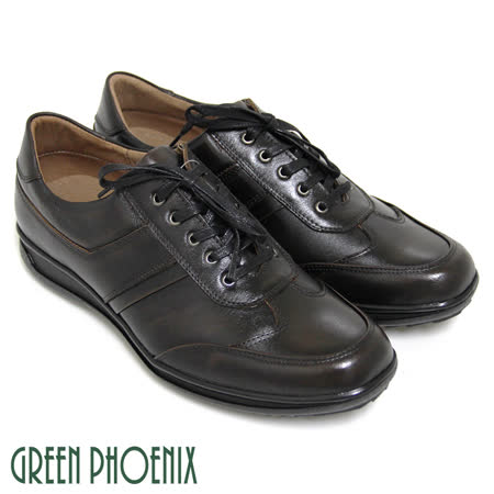 【GREEN PHOENIX】熟男經典線條綁帶全真皮平底休閒皮鞋(男款)