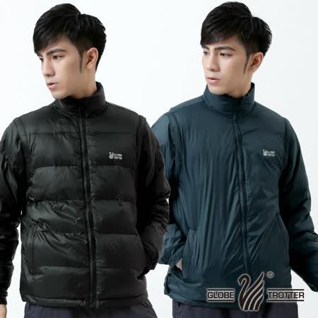 【遊遍天下】男款JIS90% 羽絨二件式多功能禦寒背心外套A082丈青