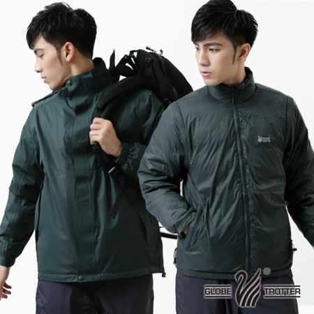 【遊遍天下】男款JIS90% 羽絨二件式多功能禦寒背心外套A082深灰
