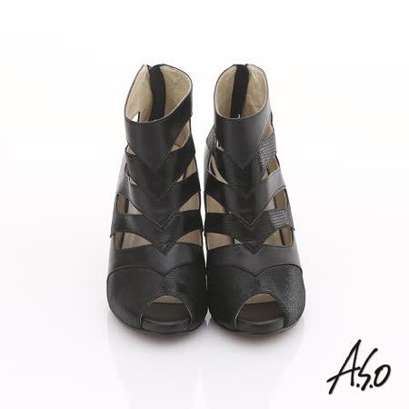 【A.S.O】摩登之都 真皮鏤空拼接動物紋魚口跟鞋(黑)