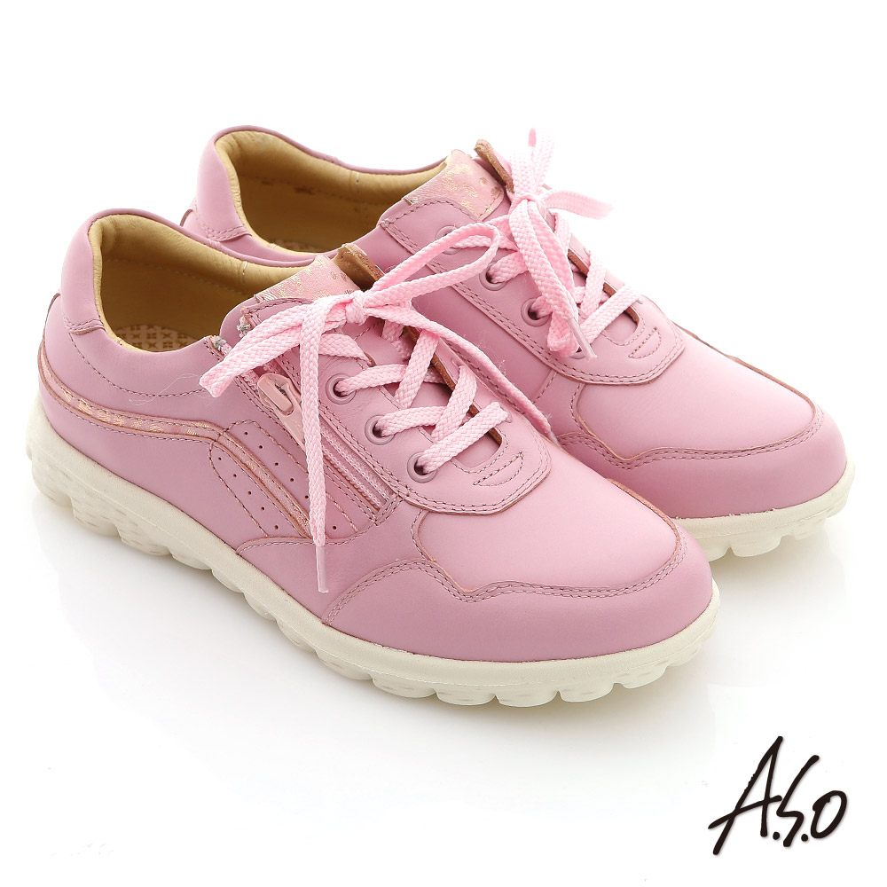 【A.S.O】輕量氣墊 牛皮綁帶拉鍊奈米休閒鞋(粉紅)
