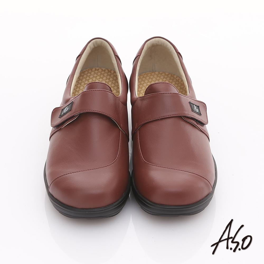 【A.S.O】氧身氣墊 真皮簡約寬楦魔鬼氈奈米氣墊鞋(紅)