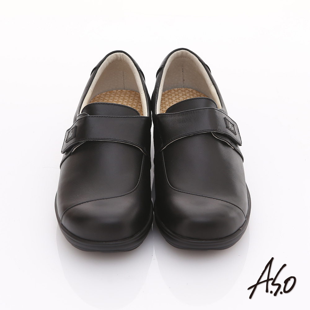 【A.S.O】氧身氣墊 真皮簡約寬楦魔鬼氈奈米氣墊鞋(黑)