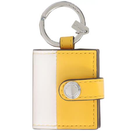 COACH 迷你相片夾皮革鑰匙圈(黃白)