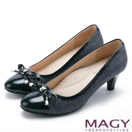 MAGY 氣質首選 柔軟羊皮典雅蝴蝶結中跟鞋-藍色