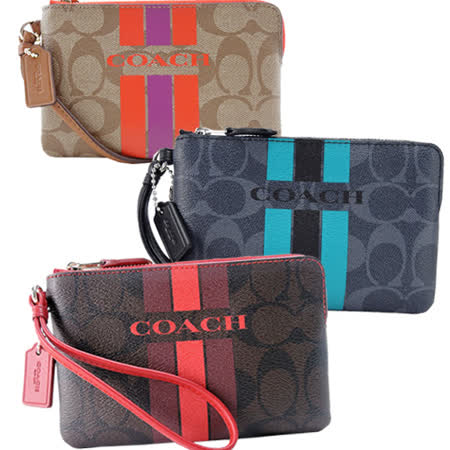 COACH C LOGO直紋防刮L拉鍊手拿包均一價