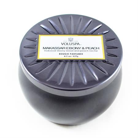 Voluspa 香氛蠟燭 望加錫檀木&桃子 小鐵罐 127g Makassar Ebony & Peach