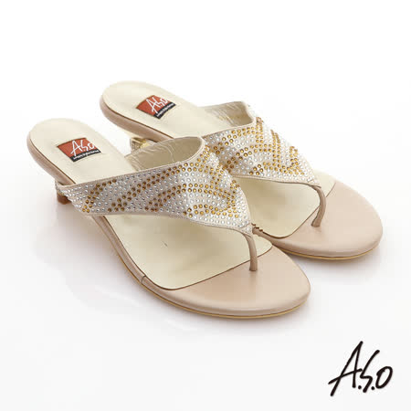 【A.S.O】金屬裝飾 水鑽裸膚透感條紋夾腳涼拖鞋(金)