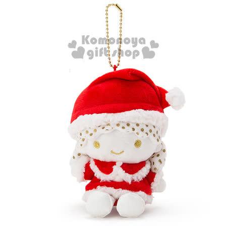 〔小禮堂〕雙子星 絨毛娃娃吊飾《紅白金.LaLa.聖誕帽》2016白色聖誕系列