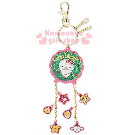 〔小禮堂〕Hello Kitty 造型壓克力鑰匙圈《透明.聖誕花圈.多角色》2016白色聖誕系列