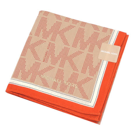 MICHAEL KORS 滿版MK LOGO邊框帕巾(卡其橘)