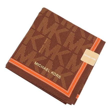 MICHAEL KORS 滿版MK LOGO邊框帕巾(巧克力橘)