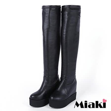 【Miaki】長靴韓優雅保暖顯瘦過膝內增高高筒厚底包鞋 (黑色 )