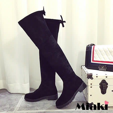【Miaki】長靴首爾蝴蝶結保暖顯瘦過膝高筒低跟包鞋 (黑色)