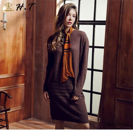 玄太- 柔感修身針織洋裝/上衣(咖啡)