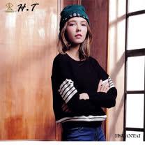 玄太-圓領配色條紋針織上衣(黑)