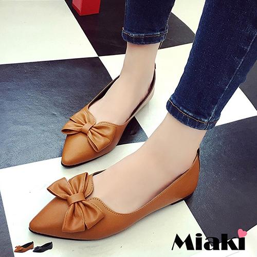 ~Miaki~娃娃鞋韓優雅 蝴蝶結尖頭低跟包鞋 ^(棕色 黑色^)
