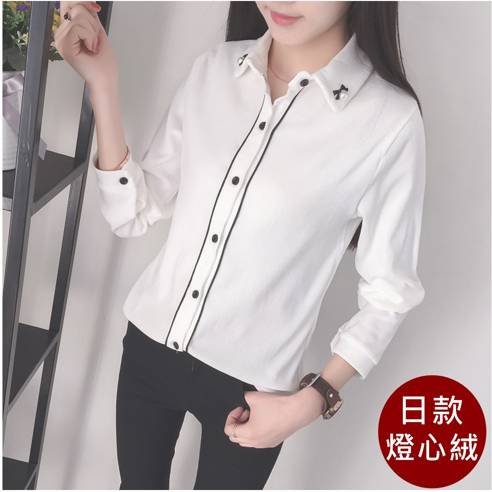 【Maya Collection】日款OL百搭燈芯絨襯衫 (白色)