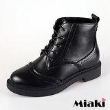 【Miaki】短靴英倫牛津雕花綁帶低跟包鞋 (黑色)
