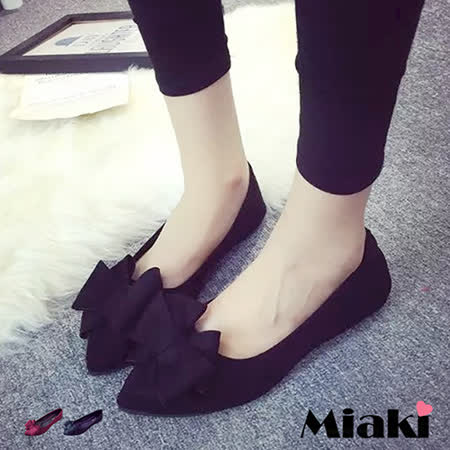 【Miaki】娃娃鞋韓復古別緻蝴蝶結尖頭低跟包鞋 (紅色 / 黑色)