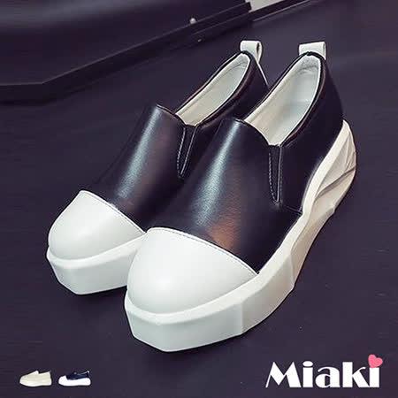 【Miaki】休閒鞋輕量萊卡拼接厚底懶人包鞋 (白色 / 黑色)