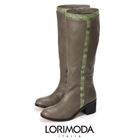 LORIMODA 義大利手工鞋 穿插螢光圖騰皮革高統高跟馬靴真皮防滑底 ALISSA.10(綠色)