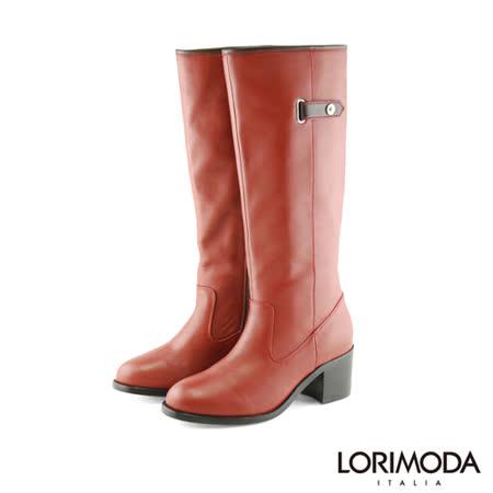 【LORIMODA】素面中跟高統靴防滑底 ALISSA.A8(酒紅)