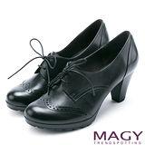 MAGY 復古牛津 雙色蠟感雕花牛皮綁帶高跟鞋-黑色