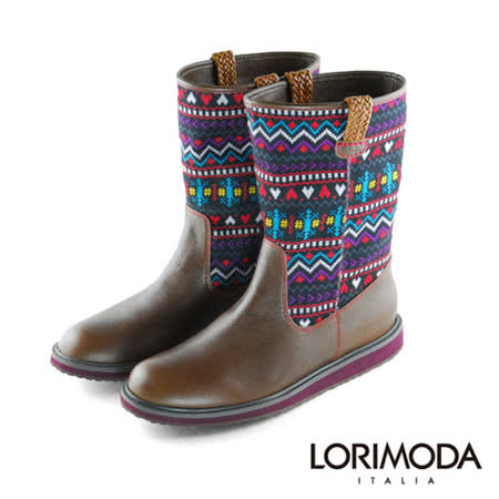 【LORIMODA】彩色毛線統平底中統靴防滑底BELLO.1(彩色)