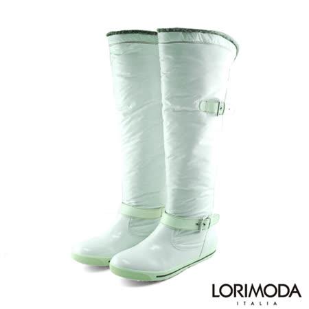 【LORIMODA】 泡泡靴管戚面平底高統靴防滑底 BURNO.1(白色)