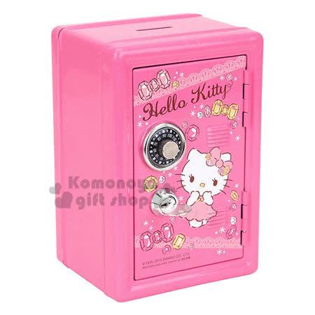 〔小禮堂〕Hello Kitty 保險箱鐵製存錢筒《粉.鑽石.站姿.蕾絲.附鎖》還可當擺飾