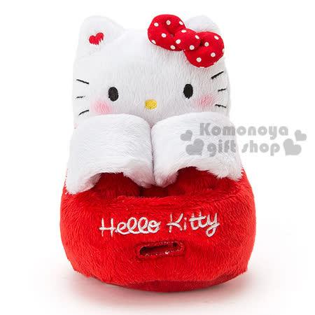 〔小禮堂〕Hello Kitty 絨毛造型手機座《紅白.坐姿.吊帶褲》可調整寬度