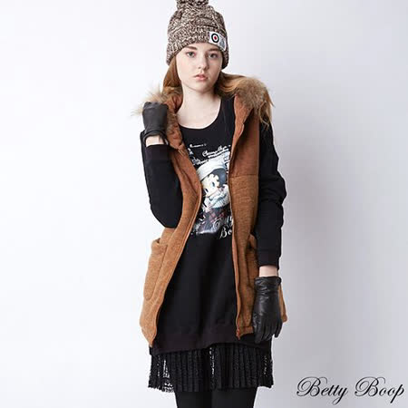 【Betty Boop貝蒂】百褶蕾絲裙拼接磨毛長版上衣(共二色)