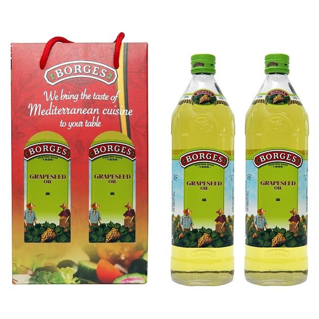 【BORGES百格仕】原瓶進口-葡萄籽油禮盒組(1Lx2瓶)