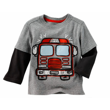 上衣 男童 假二件貨車 歐美經典兒童純棉長袖T恤