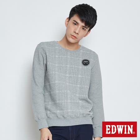 EDWIN 方格線條長袖T恤-男-灰色