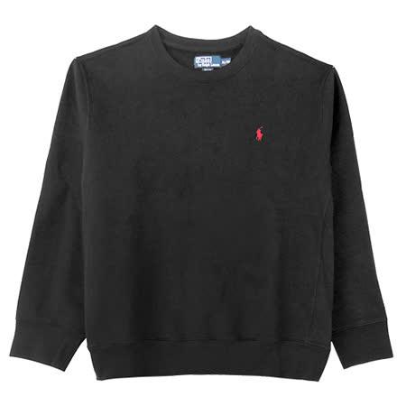 Ralph Lauren 簡單圓領內刷毛大學男T (黑/XL)