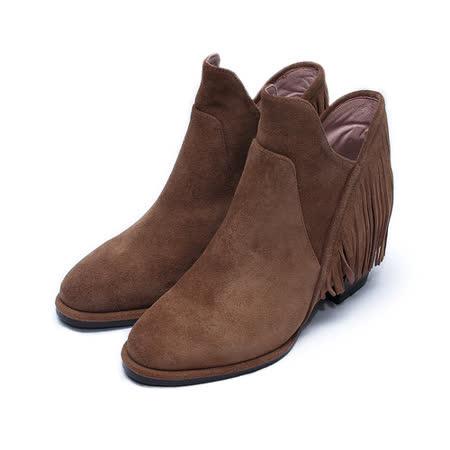 (女) DBL 流蘇拉鍊踝靴 棕 鞋全家福