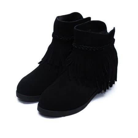 (女) CHIC&F 股編流蘇後拉真皮平底短靴 黑 鞋全家福
