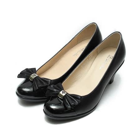 (女) 范倫鐵諾 壓紋蝴蝶跟鞋 黑 鞋全家福