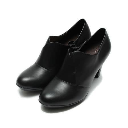 (女) LUZZI 真皮V口踝跟鞋 黑 鞋全家福