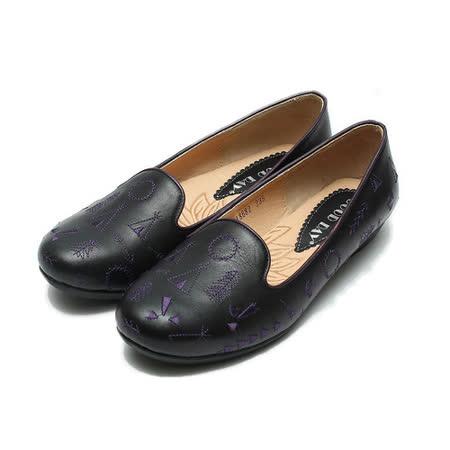 (女) GOOD-DAY 電繡樂福鞋 黑 鞋全家福