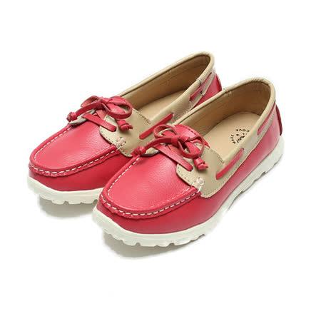 (女) 老船長 真皮雙色蝴蝶結休閒鞋 紅 鞋全家福