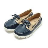 (女) 老船長 真皮雙色蝴蝶結休閒鞋 藍 鞋全家福