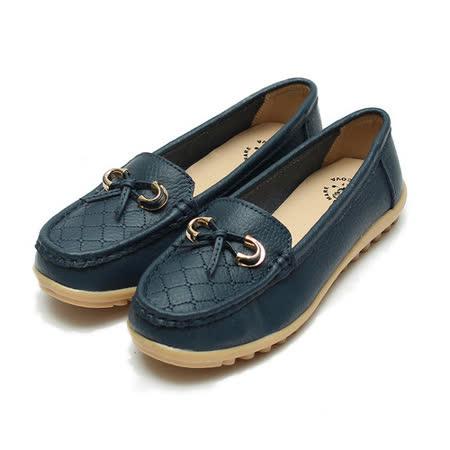 (女) 老船長 真皮菱格紋蝴蝶休閒鞋 藍 鞋全家福