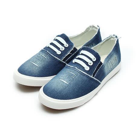(女) DOOK 刷破牛仔布休閒鞋 深藍 鞋全家福