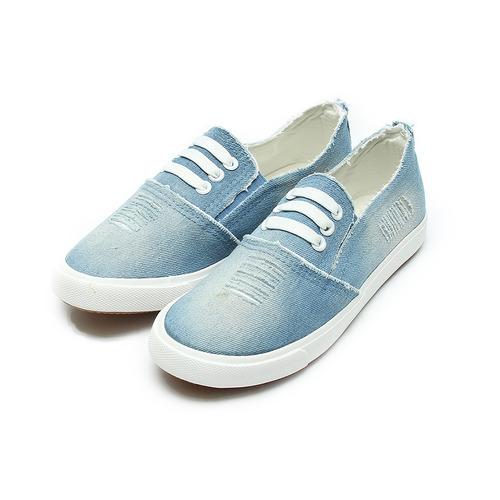 女  DOOK 刷破牛仔布休閒鞋 淺藍 鞋全家福