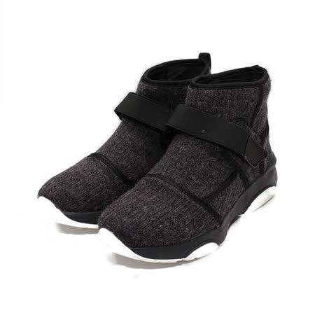 (女) RED ANT 編織毛感套式高筒休閒鞋 黑灰 鞋全家福