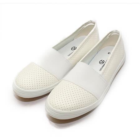 (女) GIOVANNI VALENTINO 沖孔套式休閒鞋 白 鞋全家福