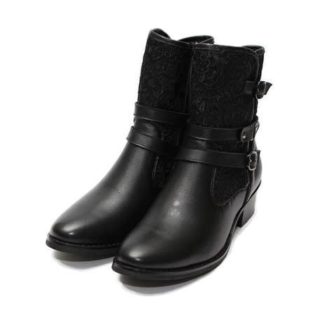 (女) Jason House 壓花布面真皮短靴 黑 鞋全家福